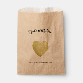Made with Love • Gold Foil Heart Handmade Favour Bags