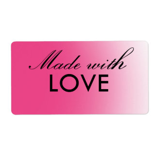 Made with Love pink customizable labels