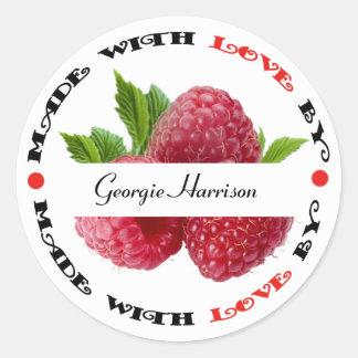 Made with Love Raspberry Round Sticker