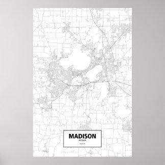 Madison, Wisconsin (black on white) Poster
