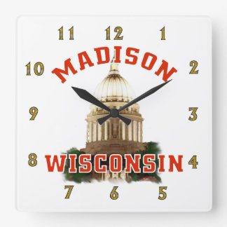 Madison,Wisconsin Square Wall Clock