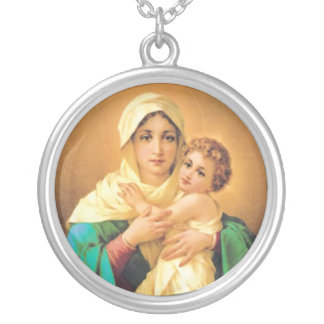 Madonna and Child by Luigi Crosio Silver Plated Necklace