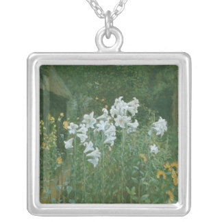 Madonna Lilies in a Garden Square Pendant Necklace