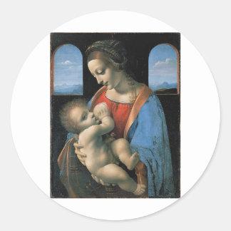 Madonna Litta by Leonardo Da Vinci c. 1490-1491 Classic Round Sticker