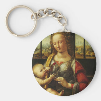 Madonna of the Carnation by Leonardo da Vinci Key Ring
