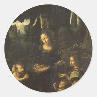 Madonna of the Rocks by Leonardo da Vinci c.1483 Classic Round Sticker