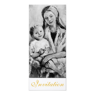 Madonna with Child christening invitation