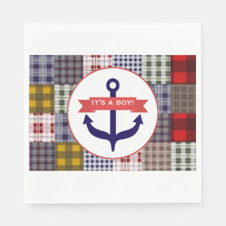 Madras Plaid + Anchor Boy Baby Shower Paper Napkins