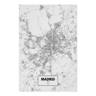 Madrid, Spain (black on white) Poster