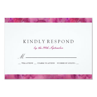 Magenta Abstract Watercolor Wedding RSVP Card