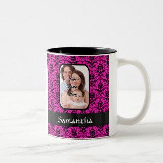 Magenta and black damask Two-Tone coffee mug