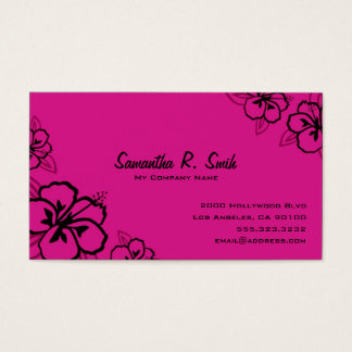Magenta and Black Hibiscus Business Card