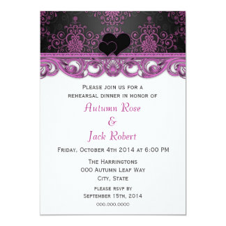 Magenta and Black Wedding Rehearsal Dinner Card
