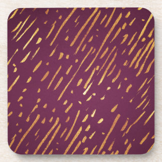 Magenta and Faux Gold Foil Streaks Coaster