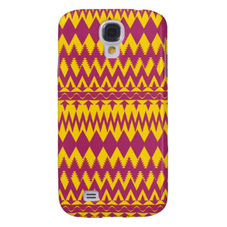 Magenta and Mustard Tribal Pattern Design Galaxy S4 Case