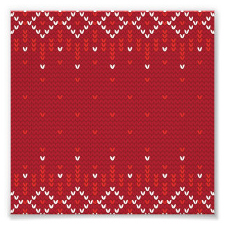 Magenta and Red Christmas Abstract Knitted Pattern Photo Print