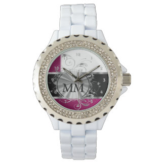 Magenta and silver monogram on white watch
