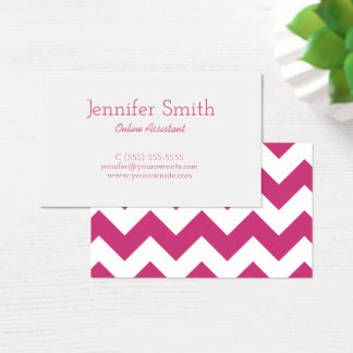 Magenta and White Chevron Pattern Business Card
