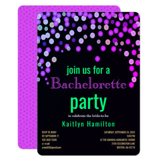 Magenta Bachelorette Faux Confetti Hen Party Card
