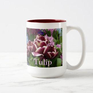 Magenta Cream Tulips Two-Tone Coffee Mug