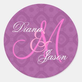 Magenta  Damask Wedding Custom Monogram V05 Round Sticker