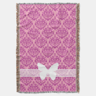 Magenta Frosted Orchid Damask with Butterfly Throw Blanket
