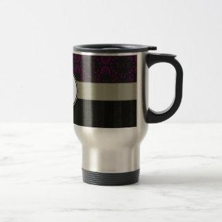Magenta on Black Damask with Stripes and Monogram Travel Mug