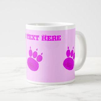 Magenta Pawprints Large Coffee Mug