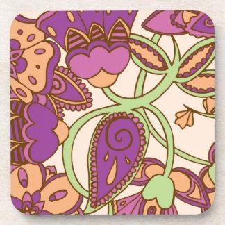 Magenta & Peach Floral Coaster