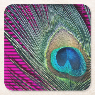 Magenta Peacock with Lines Square Paper Coaster