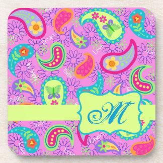 Magenta Pink Green Modern Paisley Pattern Coaster