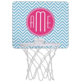 Magenta Pink Monogram with Light Blue Chevron Mini Basketball Hoop
