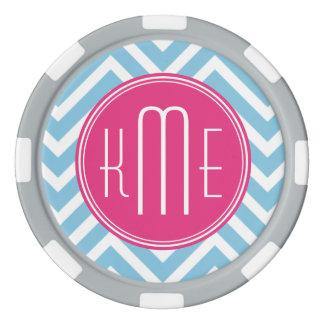 Magenta Pink Monogram with Light Blue Chevron Poker Chips Set