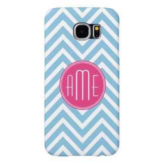 Magenta Pink Monogram with Light Blue Chevron Samsung Galaxy S6 Cases