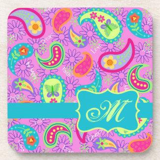 Magenta Pink Turquoise Modern Paisley Monogram Coaster