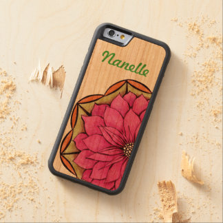 MAGENTA POINSETTIA Design Carved Cherry iPhone 6 Bumper Case