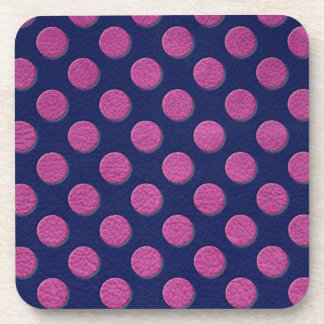 Magenta Polka Dots On Indigo Blue Leather Texture Coaster