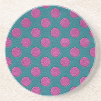 Magenta Polka Dots on Turquoise Leather Print Coaster