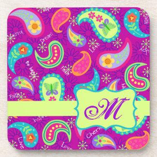 Magenta Purple Green Modern Paisley Monogram Coaster