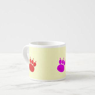 Magenta, Purple, Red Pawprints Espresso Cup