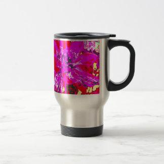 Magenta Red  Floral Dahlia Flower Pattern Travel Mug