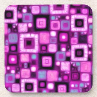 Magenta Squares Coaster