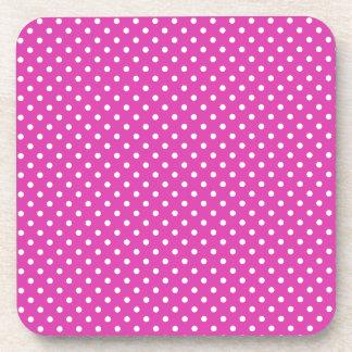 Magenta, White Polka Dots Coaster