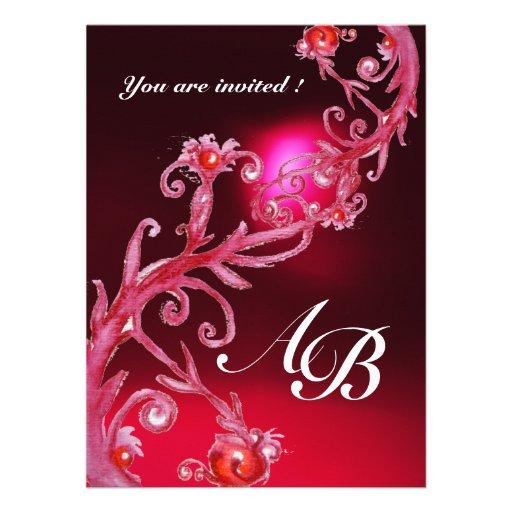 MAGIC BERRIES 4,MONOGRAM red burgundy Invite