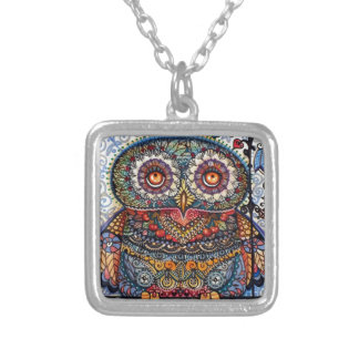 Magic graphic owl painting square pendant necklace
