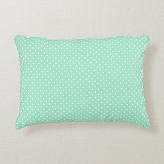 Magic Mint and White Polka Dot Pattern Accent Cushion