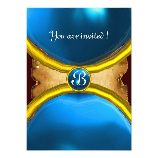 MAGIC RINGS ,MONOGRAM parchment gem blue Custom Invite