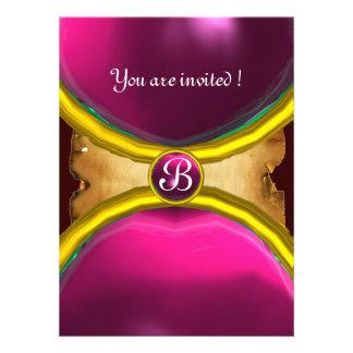 MAGIC RINGS MONOGRAM parchment gem pink Personalized Announcement