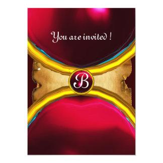 MAGIC RINGS ,MONOGRAM parchment gem red burgundy Custom Invite