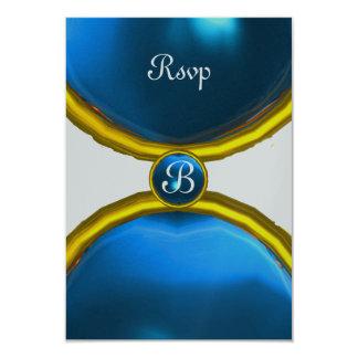 MAGIC RINGS ,MONOGRAM rsvp gem blue silver 9 Cm X 13 Cm Invitation Card